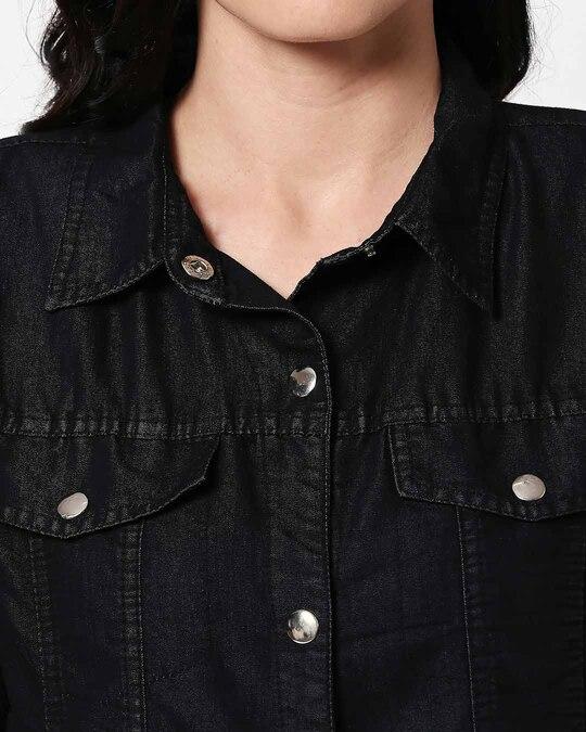 Shop Varsity Black Denim Jacket