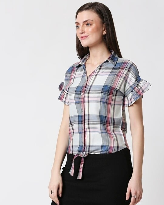 Shop Womens Checks Tie Up Shirt-Design