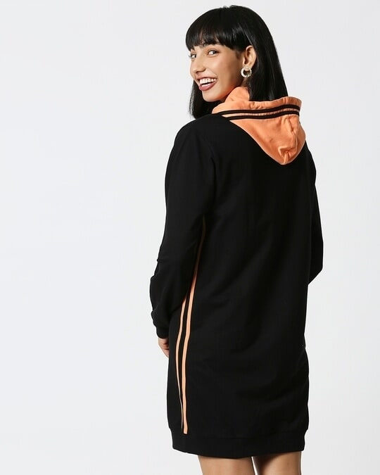 Shop Orange Rush Hoodie Dress-Full