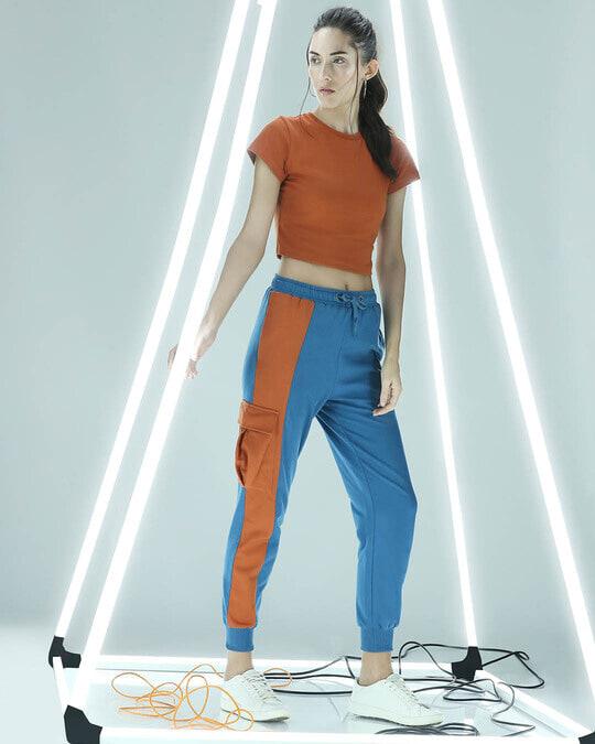 Shop Digi Teal Women's High Waist Colorblock Jogger-Front