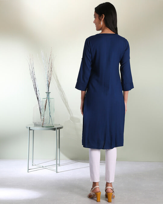 Shop Women's Embroiderred Pocket Classic Blue Kurta-Full
