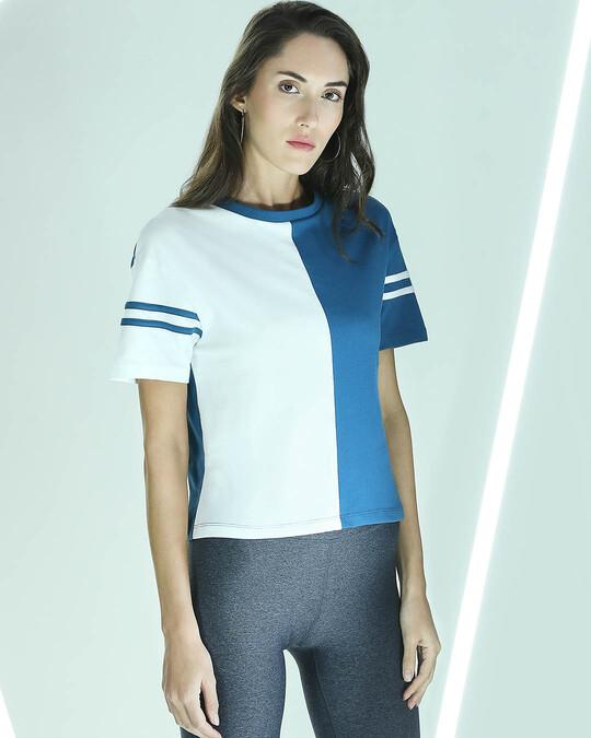 Shop Digi Teal Half & Half Sleeve T-Shirt-Front