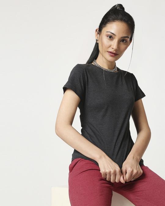 Shop Women's Half Sleeve Anthra Melange T-Shirt-Front