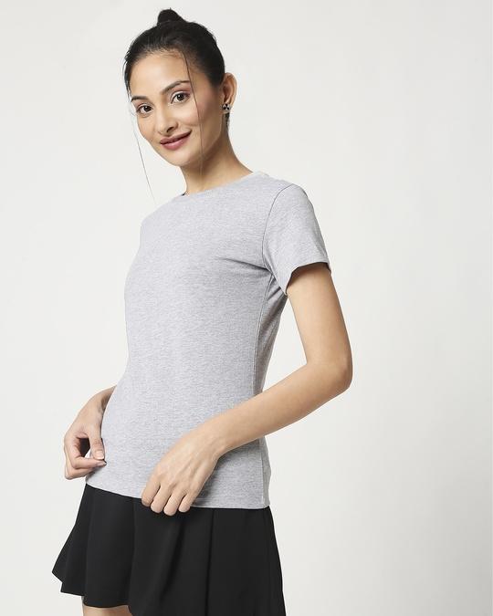 Shop Women's Half Sleeve Grey Melange T-Shirt-Design