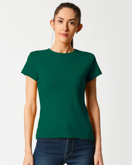 Shop Women's Half Sleeve Rib T-shirt-Back