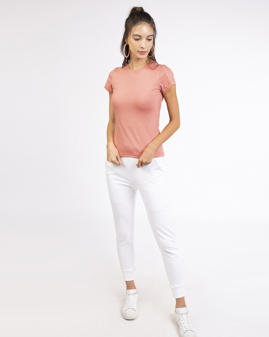 Shop Women's Half Sleeve T-shirt-Combo-White-Pink