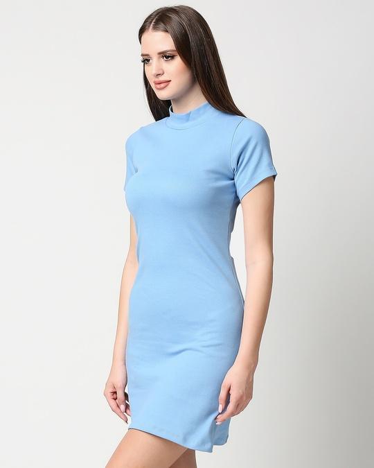 Shop Women's High Neck Ribbed Dress-Design