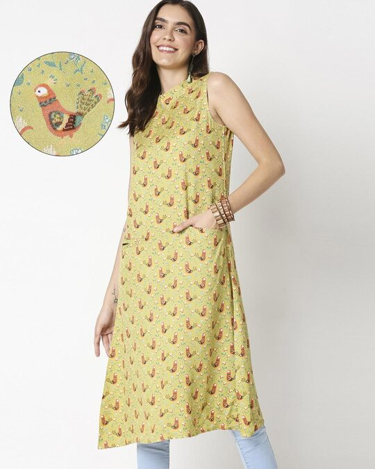 Shop Women's Yellow Printed Sleeveless Kurti Dress-Front