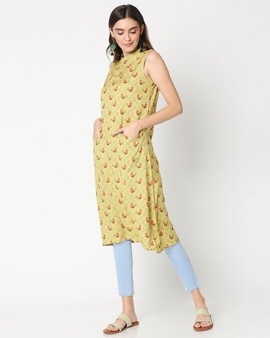Shop Women's Yellow Printed Sleeveless Kurti Dress-Full