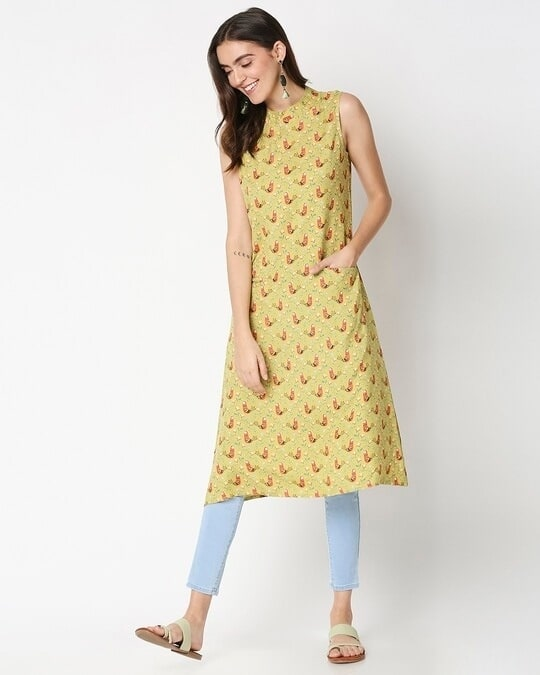 Shop Women's Yellow Printed Sleeveless Kurti Dress