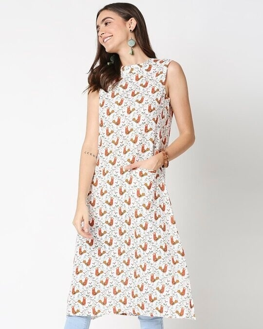 Shop Women's White Printed Sleeveless Kurti Dress-Back