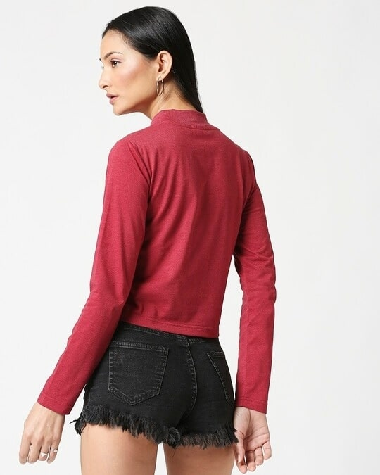 Shop Women's Maroon Melange Snug Top-Full