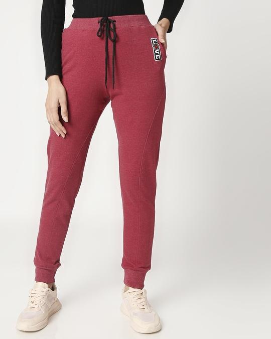 Shop Women's Maroon Melange Twisted Jogger-Back
