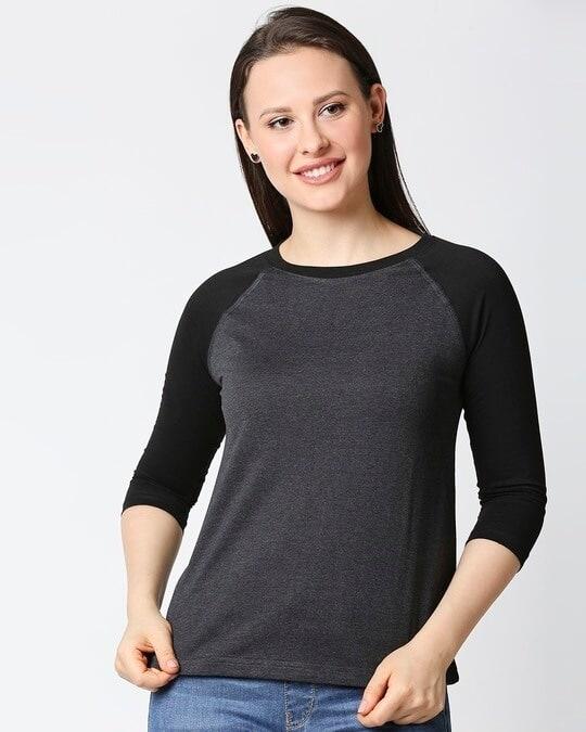 Shop Women's Melange Raglan T-Shirt-Front