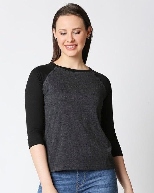 Shop Women's Melange Raglan T-Shirt-Back