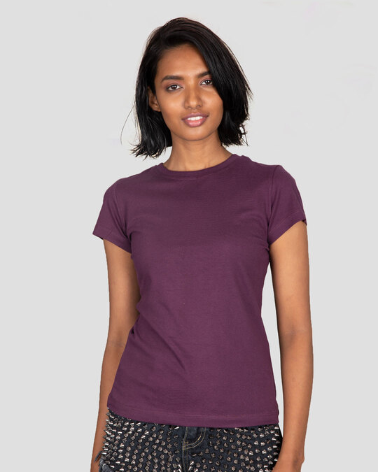 Shop Women's Plain Half Sleeve T-shirt Pack of 2 (Deep Purple & Jet Black)-Back