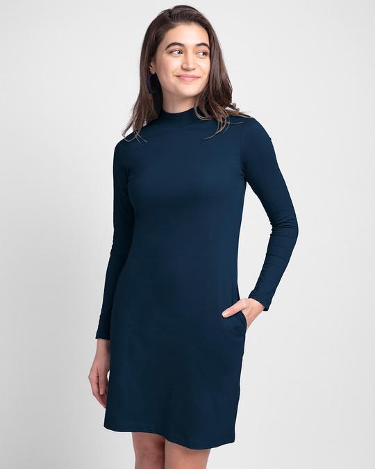 Shop Women's Plain High Neck Pocket Dress Navy Blue-Front
