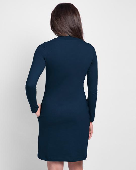 Shop Women's Plain High Neck Pocket Dress Navy Blue-Design
