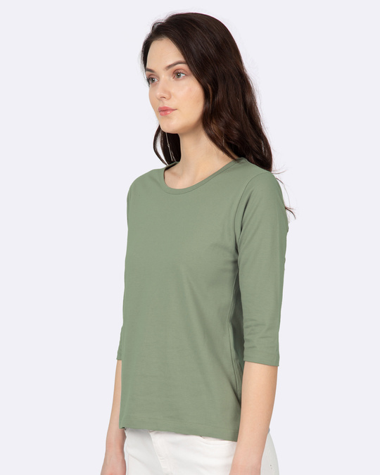 Shop Women's Plain Round Neck 3/4 Sleeve T-Shirts -Green-Back