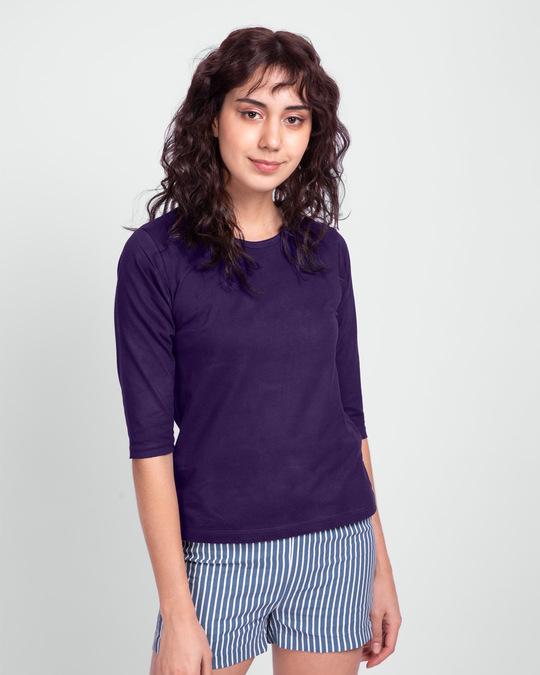 Shop Parachute Purple Round Neck 3/4 Sleeve T-Shirt-Front