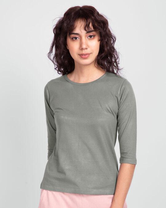 Shop Women's Plain Round Neck 3/4th Sleeve T-shirt - Pack of 2 Black- Meteor Grey-Design