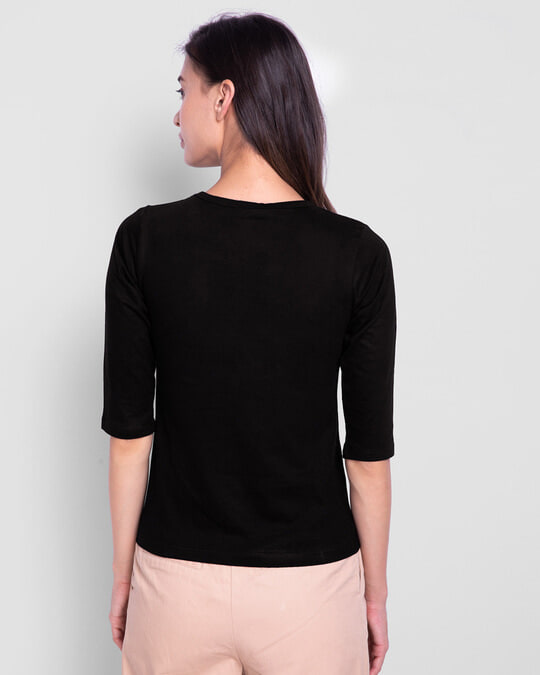 Shop Women's Plain Round Neck 3/4th Sleeve T-shirt - Pack of 2 Black- Meteor Grey-Full