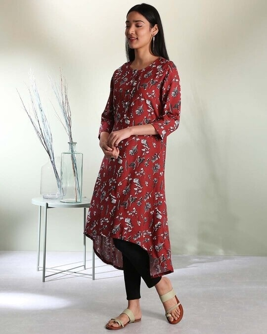 Shop Women's Maroon Printed High Low Kurti-Design