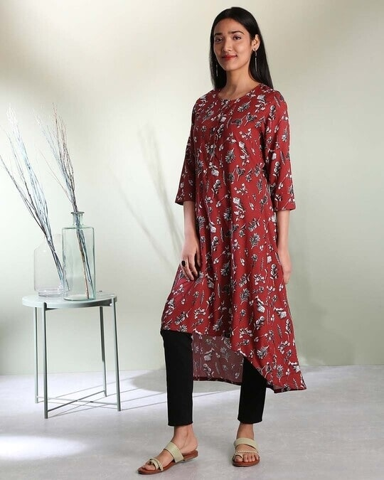 Shop Women's Maroon Printed High Low Kurti-Front