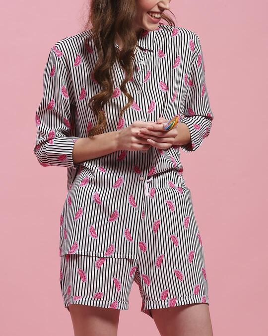 Shop Women's Printed Shirt & Shorts Night Suit-Front