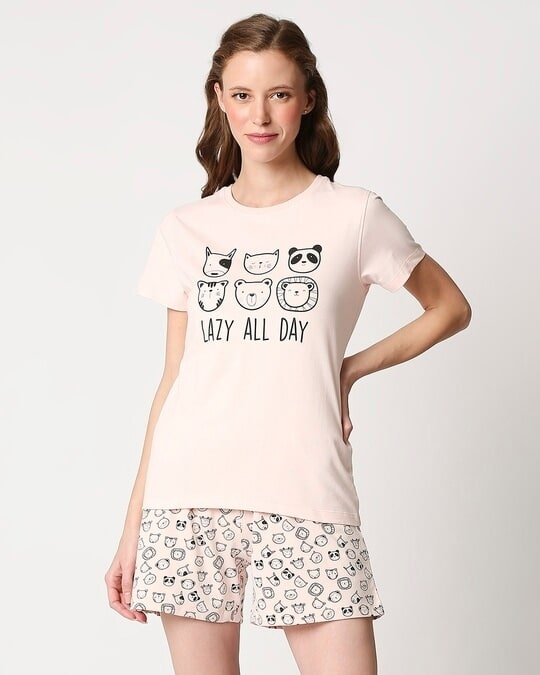 Shop Women's Printed T-shirt & Shorts Night Suit-Back