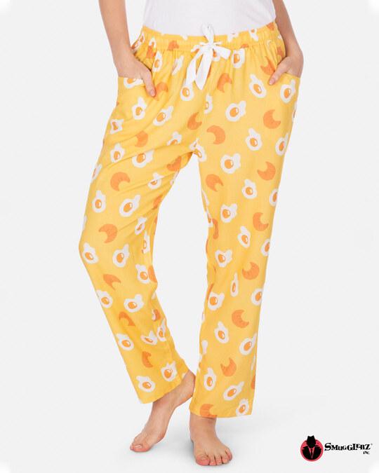 Shop Smugglerz Women's Pyjamas Eggs & Croissants Yellow-Front