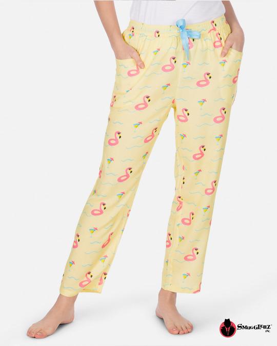 Shop Smugglerz Women's Pyjamas Flamingo Float Pink-Front
