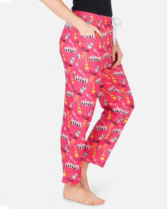 Shop Smugglerz Women's Pyjamas Jazz Music Pink-Back
