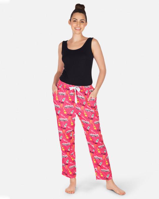Shop Smugglerz Women's Pyjamas Jazz Music Pink-Full