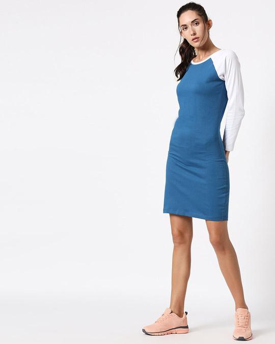 Shop Digi Teal Raglan Dress-Full