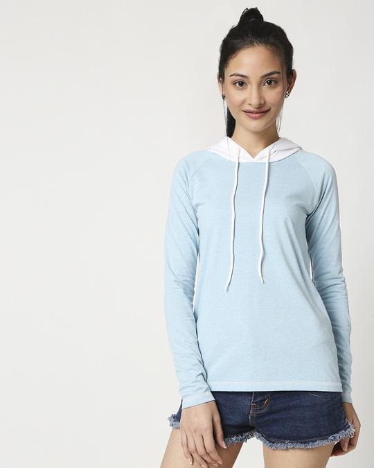 Shop Women's Raglan Melange Hoodie-Back