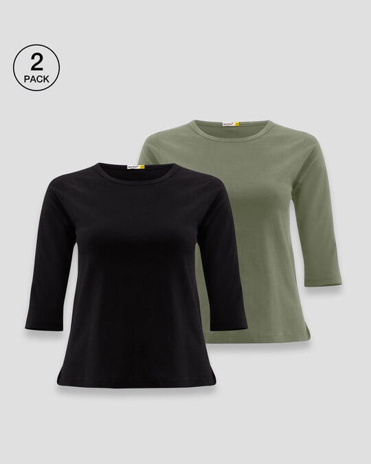 Shop Women's Round Neck 3/4 Sleeve T-Shirts-Combo-Black-Green-Front