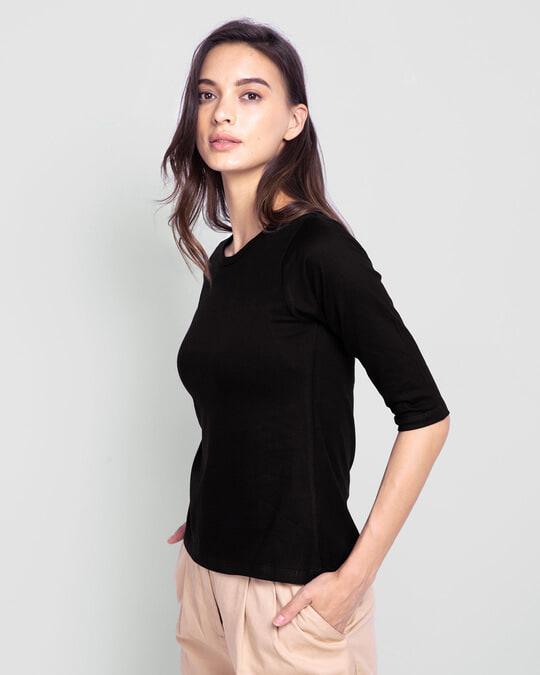 Shop Women's Round Neck 3/4 Sleeve T-Shirts-Combo-Black-Green-Full