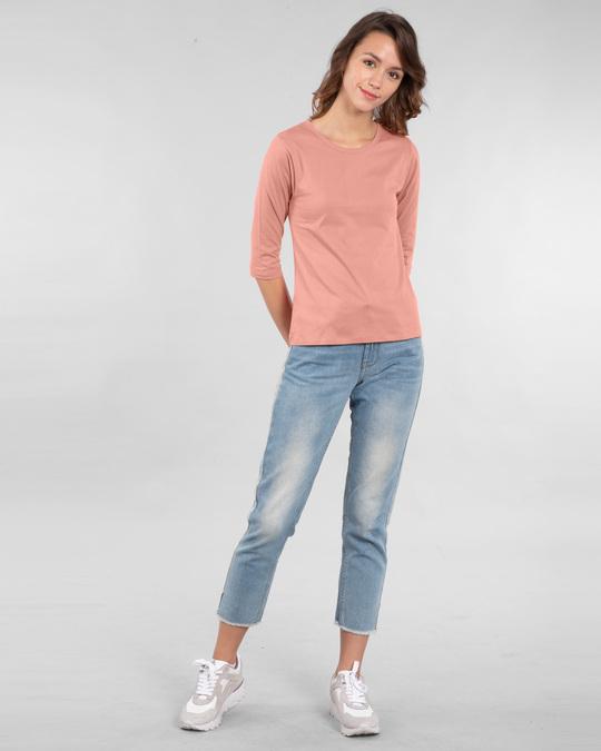 Shop Women's Round Neck 3/4 Sleeve T-Shirts-Combo-Black-Pink