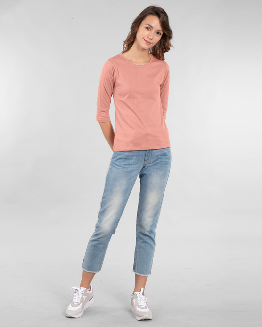 Shop Women's Round Neck 3/4 Sleeve T-Shirts-Combo-Pink-White