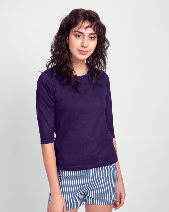 Shop Women's Round Neck 3/4 Sleeve T-Shirts-Combo-Yellow-Purple-Design