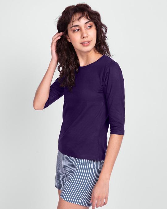 Shop Women's Round Neck 3/4 Sleeve T-Shirts-Combo-Yellow-Purple