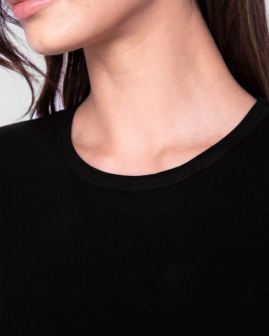 Shop Women's Round Neck 3/4th Sleeve T-shirt Pack of 2(Black & White)
