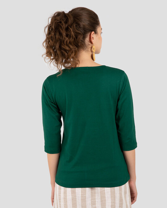 Shop Women's Round Neck 3/4th Sleeve T-Shirt Pack of 3(Purplle,Green & Blue)