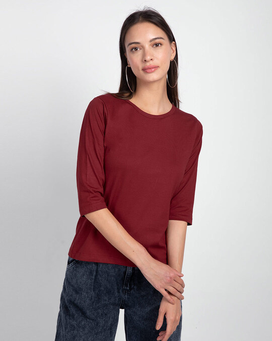 Shop Women's Round Neck 3/4th Sleeve T-shirt Pack of 2(Red & Green)-Back