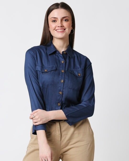 Shop Womens Solid Smoked Waist Top-Back