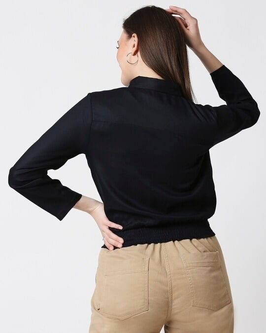 Shop Womens Solid Smoked Waist Top-Full