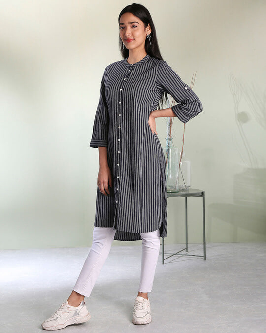 Shop Women's Stripe Mandarin Collar Button Down Side Slit Kurta-Back
