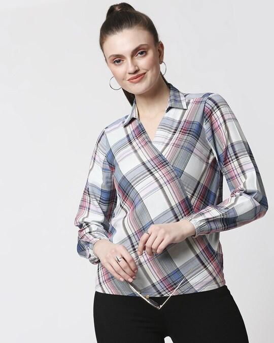 Shop Womens Checks Overlap Shirt Top-Front