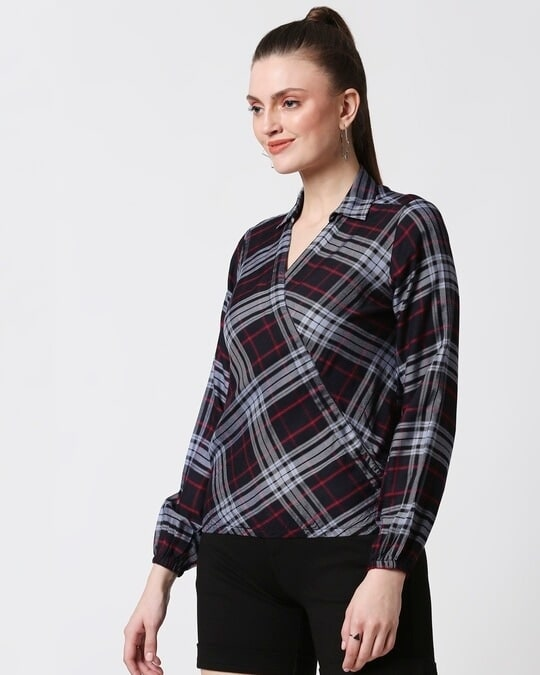 Shop Womens Checks Overlap Shirt Top-Design
